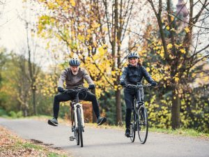 Couple cycling funny
